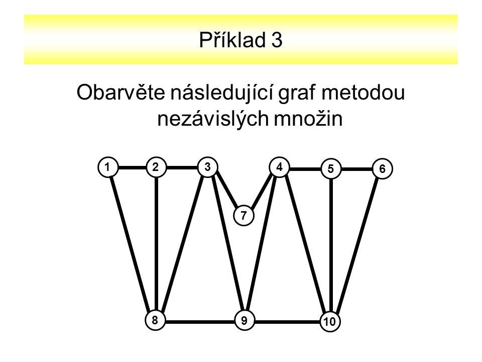 Příklad 3 Obarvěte následující graf metodou nezávislých množin 2134 56 10 8 9 7