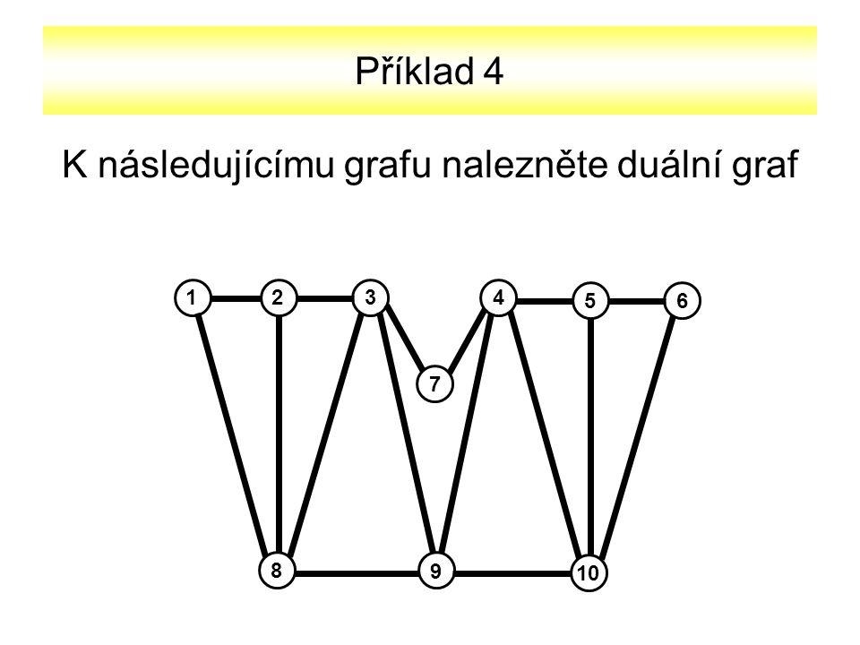 Příklad 4 K následujícímu grafu nalezněte duální graf 2134 56 10 8 9 7