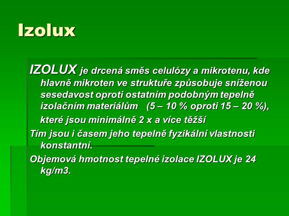Izolux IZOLUX je drcená směs celulózy a mikrotenu, kde hlavně mikroten ve struktuře způsobuje sníženou sesedavost oproti ostatním podobným tepelně izo