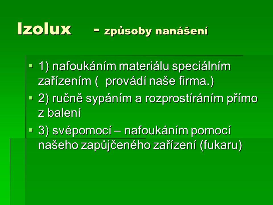 Izolux - způsoby nanášení  1) nafoukáním materiálu speciálním zařízením ( provádí naše firma.)  2) ručně sypáním a rozprostíráním přímo z balení  3