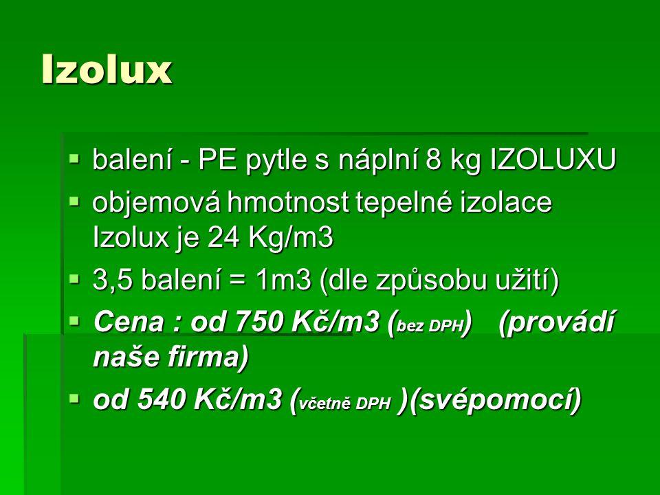 Izolux  balení - PE pytle s náplní 8 kg IZOLUXU  objemová hmotnost tepelné izolace Izolux je 24 Kg/m3  3,5 balení = 1m3 (dle způsobu užití)  Cena