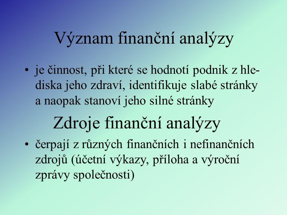 Význam finanční analýzy je činnost, při které se hodnotí podnik z hle- diska jeho zdraví, identifikuje slabé stránky a naopak stanoví jeho silné stránky Zdroje finanční analýzy čerpají z různých finančních i nefinančních zdrojů (účetní výkazy, příloha a výroční zprávy společnosti)