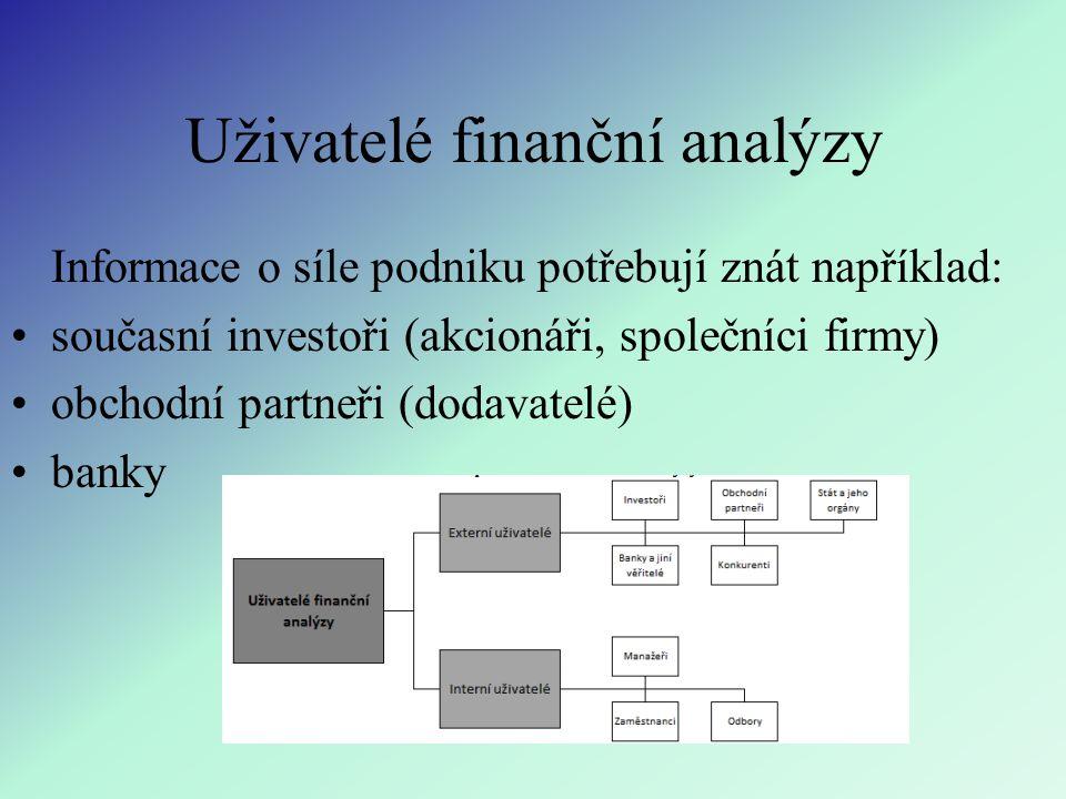 Uživatelé finanční analýzy Informace o síle podniku potřebují znát například: současní investoři (akcionáři, společníci firmy) obchodní partneři (dodavatelé) banky