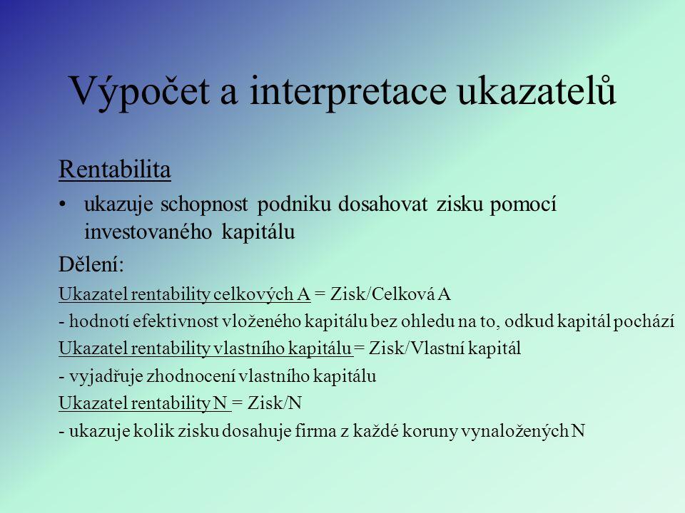 Výpočet a interpretace ukazatelů Rentabilita ukazuje schopnost podniku dosahovat zisku pomocí investovaného kapitálu Dělení: Ukazatel rentability celk
