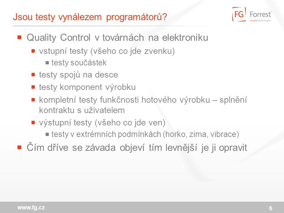 6 www.fg.cz Jsou testy vynálezem programátorů.