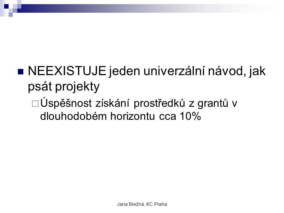 Jana Brežná, KC Praha NEEXISTUJE jeden univerzální návod, jak psát projekty  Úspěšnost získání prostředků z grantů v dlouhodobém horizontu cca 10%