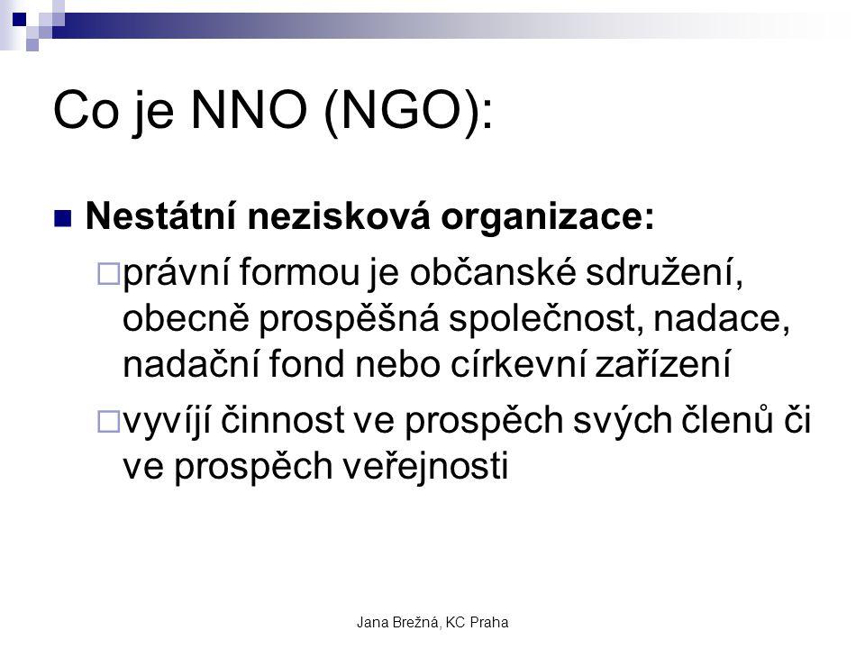 Jana Brežná, KC Praha Co je NNO (NGO): Nestátní nezisková organizace:  právní formou je občanské sdružení, obecně prospěšná společnost, nadace, nadační fond nebo církevní zařízení  vyvíjí činnost ve prospěch svých členů či ve prospěch veřejnosti