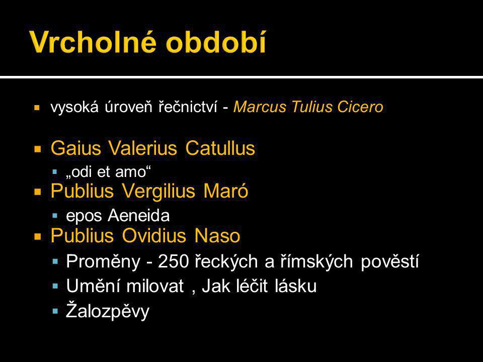 """ vysoká úroveň řečnictví - Marcus Tulius Cicero  Gaius Valerius Catullus  """"odi et amo  Publius Vergilius Maró  epos Aeneida  Publius Ovidius Naso  Proměny - 250 řeckých a římských pověstí  Umění milovat, Jak léčit lásku  Žalozpěvy"""