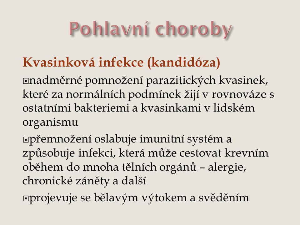 Kvasinková infekce (kandidóza)  nadměrné pomnožení parazitických kvasinek, které za normálních podmínek žijí v rovnováze s ostatními bakteriemi a kva