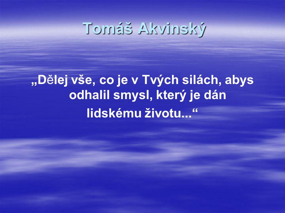 """Tomáš Akvinský """"Dělej vše, co je v Tvých silách, abys odhalil smysl, který je dán lidskému životu..."""""""