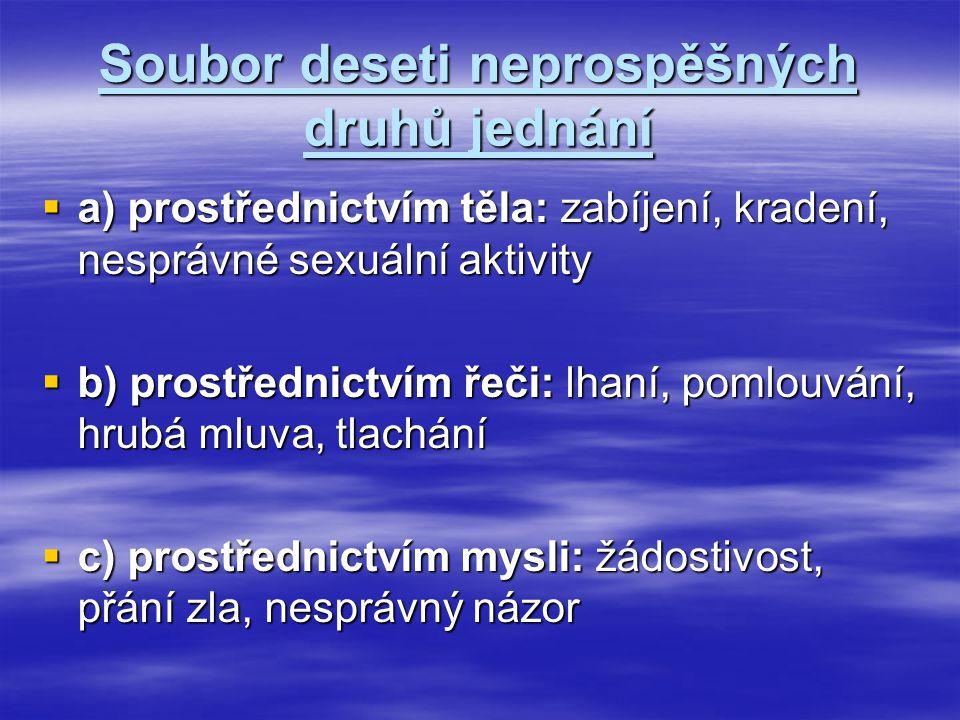 Soubor deseti neprospěšných druhů jednání  a) prostřednictvím těla: zabíjení, kradení, nesprávné sexuální aktivity  b) prostřednictvím řeči: lhaní,