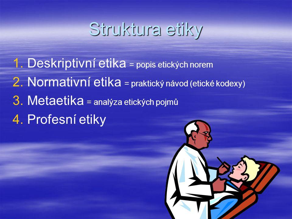 Struktura etiky 1. 1.Deskriptivní etika = popis etických norem 2. 2.Normativní etika = praktický návod (etické kodexy) 3. 3.Metaetika = analýza etický