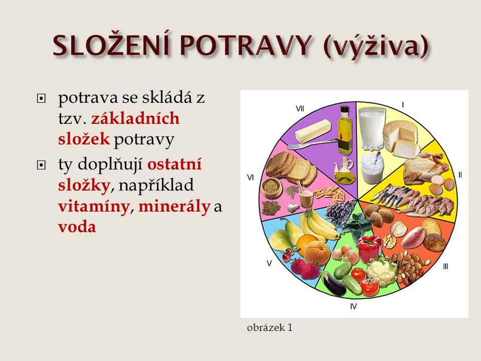  potrava se skládá z tzv. základních složek potravy  ty doplňují ostatní složky, například vitamíny, minerály a voda obrázek 1