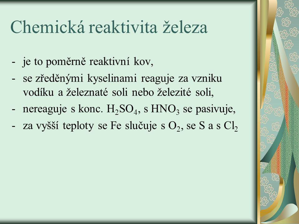 koroze -Fe podléhá korozi – jde o elektrochemický děj, účastní se ho Fe, voda, kyslík a elektrolytem je FeSO 4, který vzniká v soustavě za účasti SO 2, který je ve vzduchu a vzdušného O 2, -korozi vyjadřujeme rovnicí: 4Fe + 3O 2 + 2xH 2 O → 2Fe 2 O 3.