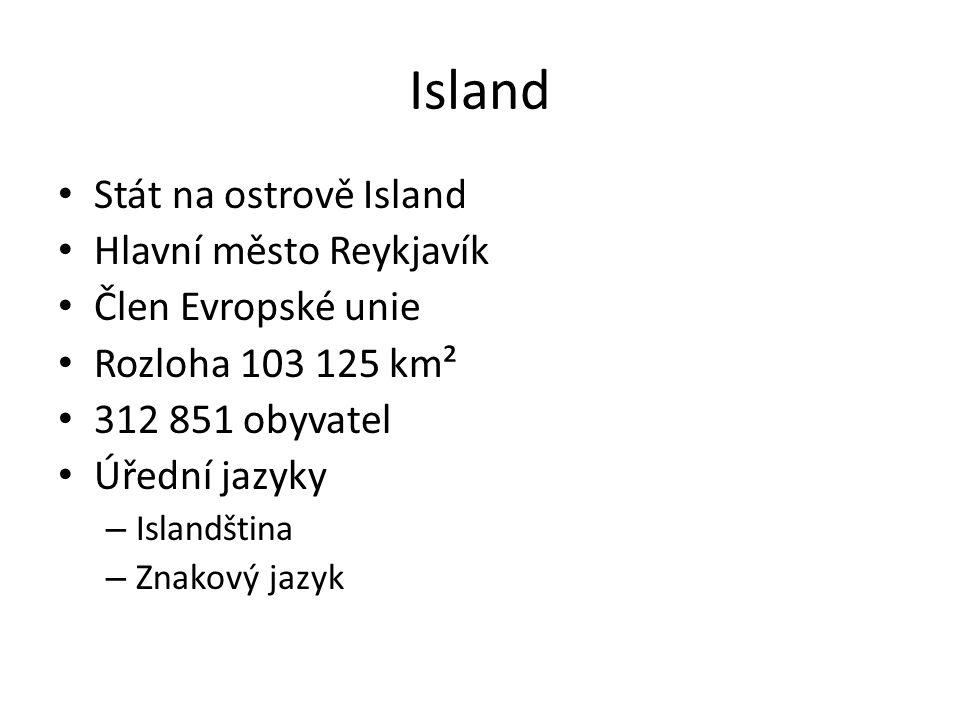 Stát na ostrově Island Hlavní město Reykjavík Člen Evropské unie Rozloha 103 125 km² 312 851 obyvatel Úřední jazyky – Islandština – Znakový jazyk