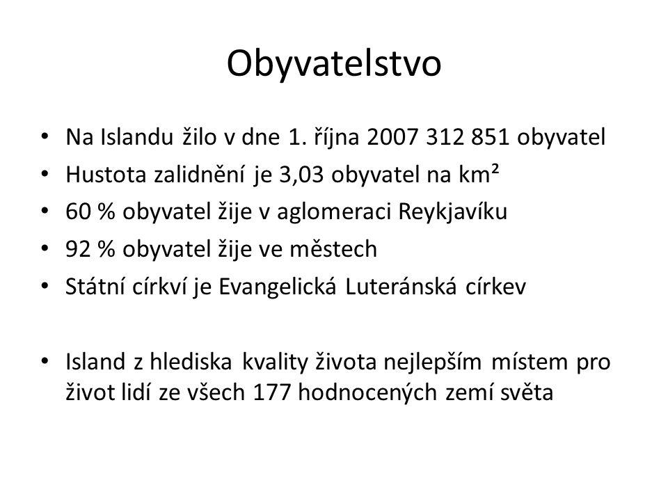 Obyvatelstvo Na Islandu žilo v dne 1. října 2007 312 851 obyvatel Hustota zalidnění je 3,03 obyvatel na km² 60 % obyvatel žije v aglomeraci Reykjavíku