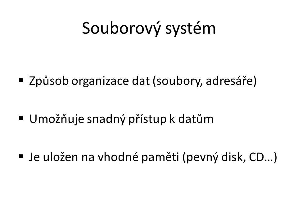 Souborový systém  Způsob organizace dat (soubory, adresáře)  Umožňuje snadný přístup k datům  Je uložen na vhodné paměti (pevný disk, CD…)