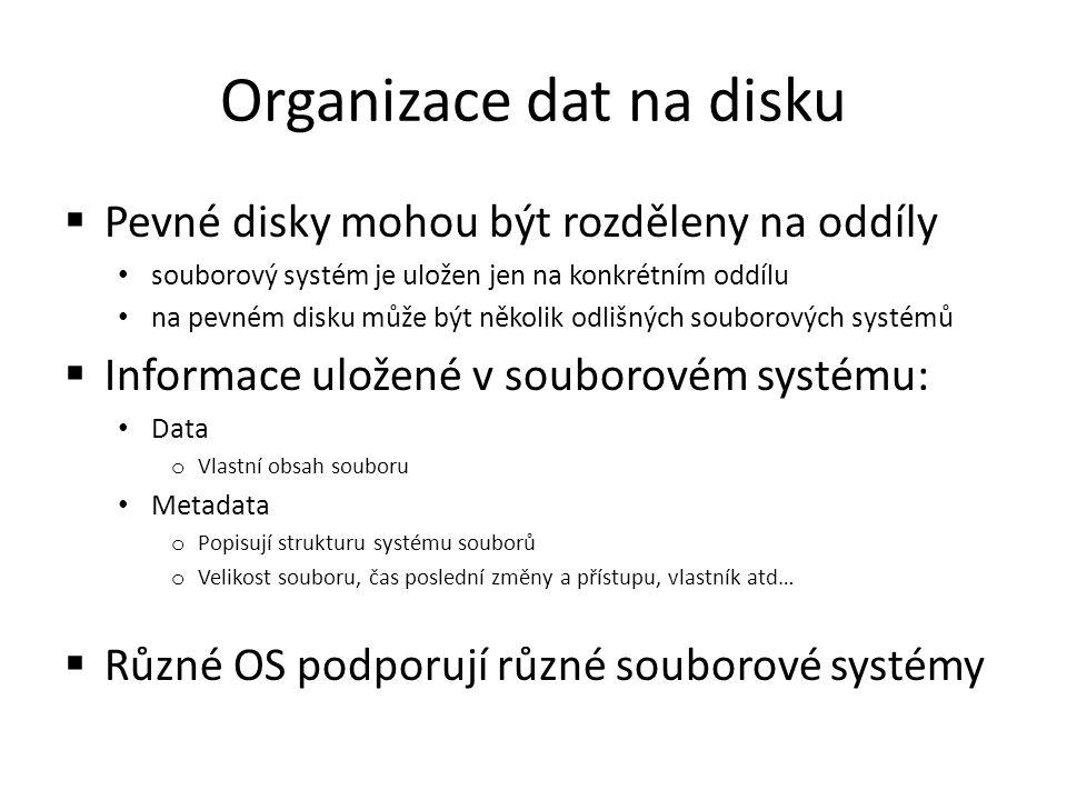 Organizace dat na disku  Pevné disky mohou být rozděleny na oddíly souborový systém je uložen jen na konkrétním oddílu na pevném disku může být někol