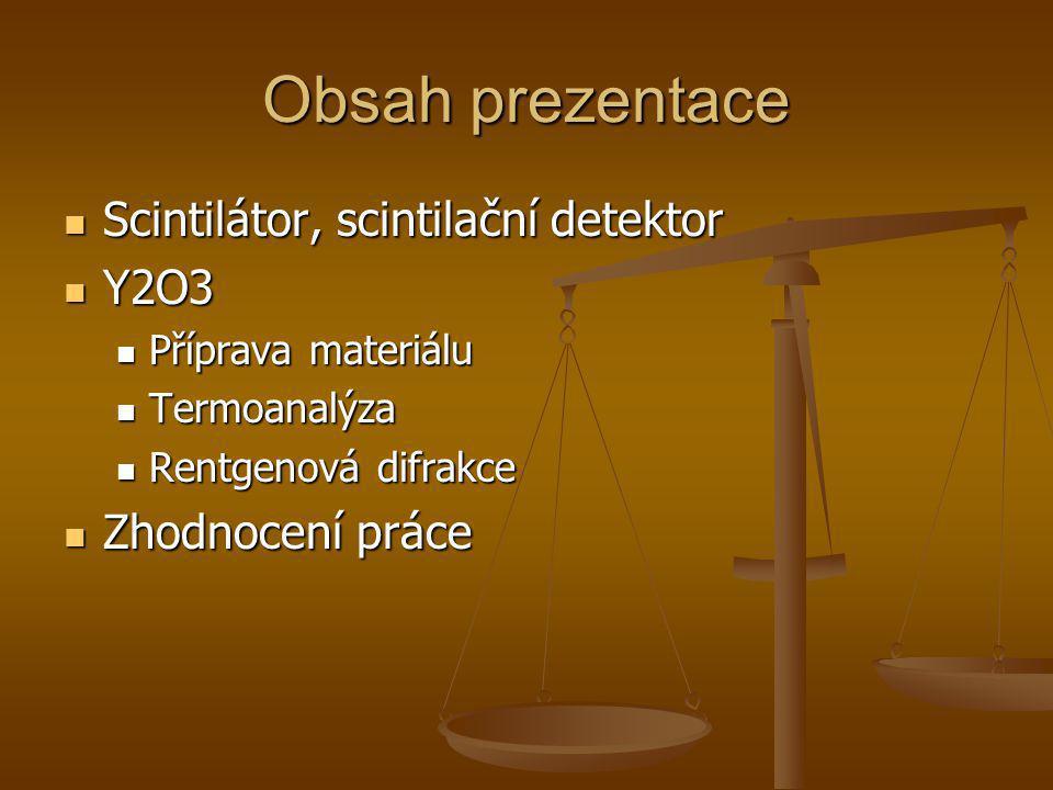 Obsah prezentace Scintilátor, scintilační detektor Scintilátor, scintilační detektor Y2O3 Y2O3 Příprava materiálu Příprava materiálu Termoanalýza Term