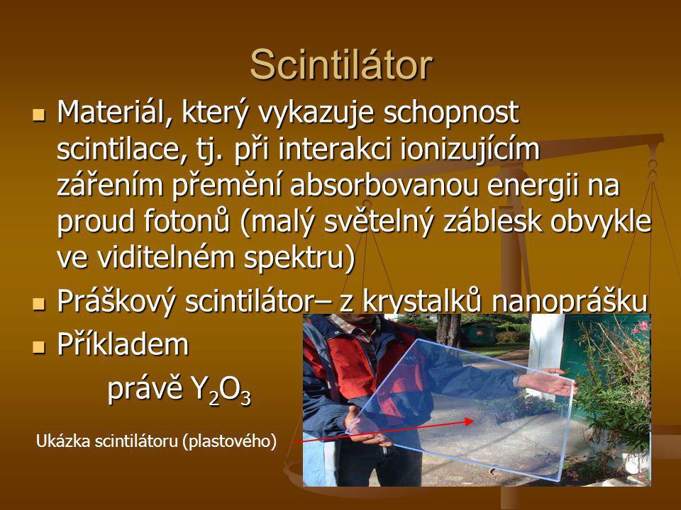Scintilátor Materiál, který vykazuje schopnost scintilace, tj. při interakci ionizujícím zářením přemění absorbovanou energii na proud fotonů (malý sv