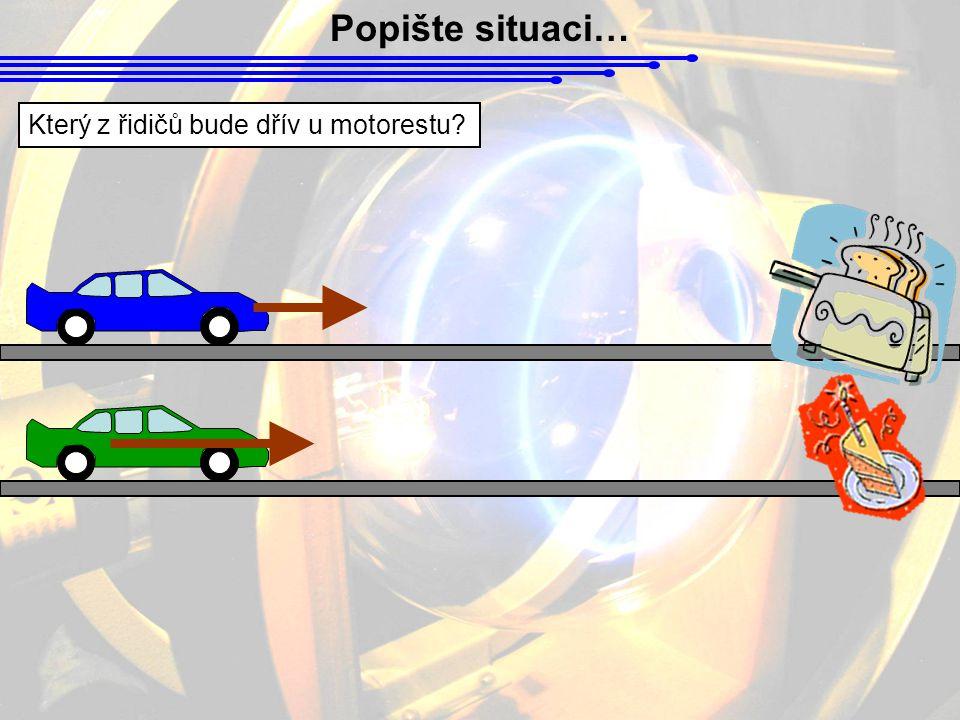 Popište situaci… Který z řidičů bude dřív u motorestu