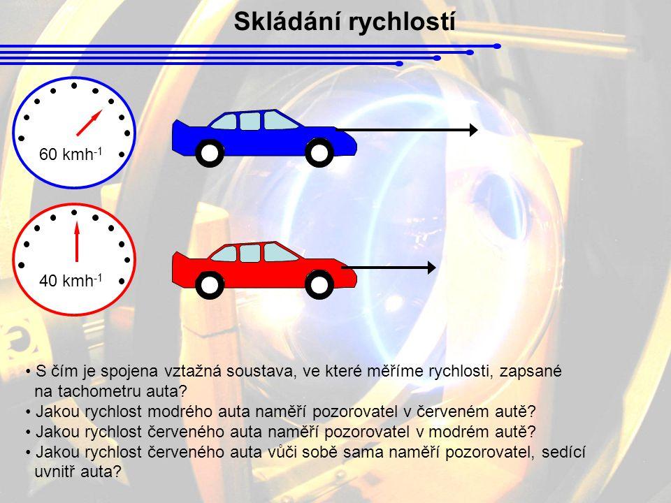 Skládání rychlostí 60 kmh -1 40 kmh -1 S čím je spojena vztažná soustava, ve které měříme rychlosti, zapsané na tachometru auta? Jakou rychlost modréh