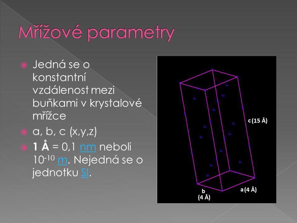  Jedná se o konstantní vzdálenost mezi buňkami v krystalové mřížce  a, b, c (x,y,z)  1 Å = 0,1 nm neboli 10 -10 m.