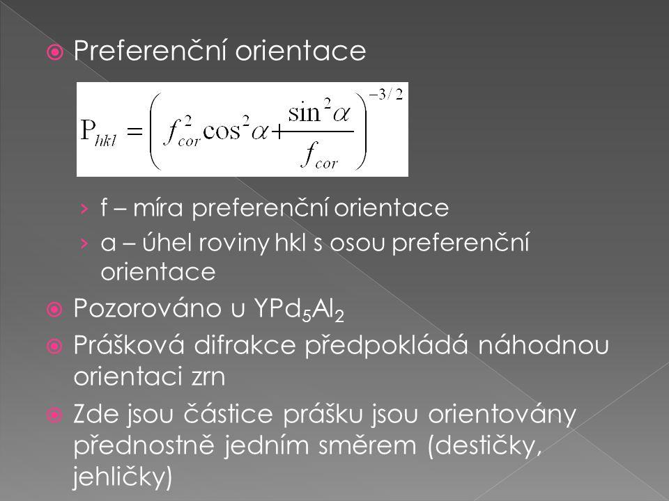 Preferenční orientace › f – míra preferenční orientace › α – úhel roviny hkl s osou preferenční orientace  Pozorováno u YPd 5 Al 2  Prášková difrakce předpokládá náhodnou orientaci zrn  Zde jsou částice prášku jsou orientovány přednostně jedním směrem (destičky, jehličky)