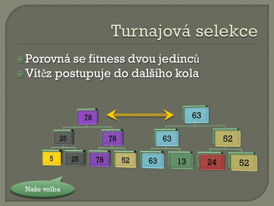  Porovná se fitness dvou jedinc ů  Vít ě z postupuje do dalšího kola  Porovná se fitness dvou jedinc ů  Vít ě z postupuje do dalšího kola