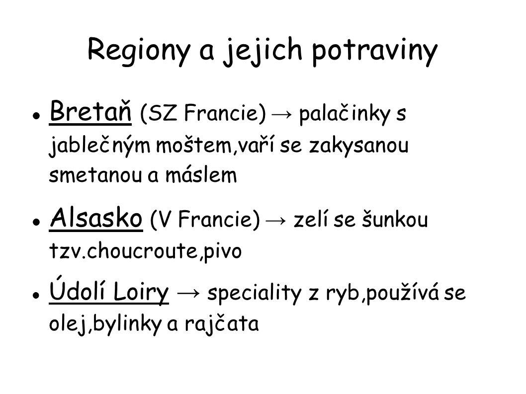 Regiony a jejich potraviny Bretaň (SZ Francie) → palačinky s jablečným moštem,vaří se zakysanou smetanou a máslem Alsasko (V Francie) → zelí se šunkou