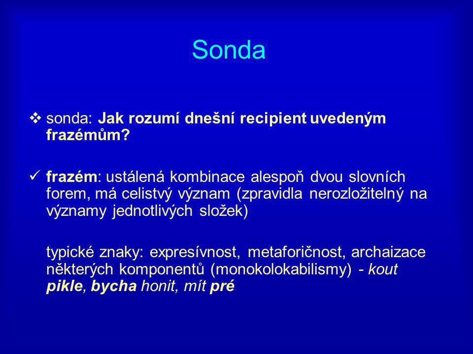 Sonda  sonda: Jak rozumí dnešní recipient uvedeným frazémům.