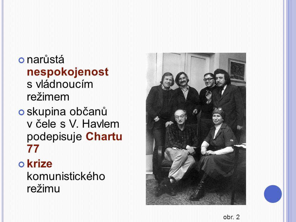 narůstá nespokojenost s vládnoucím režimem skupina občanů v čele s V. Havlem podepisuje Chartu 77 krize komunistického režimu obr. 2
