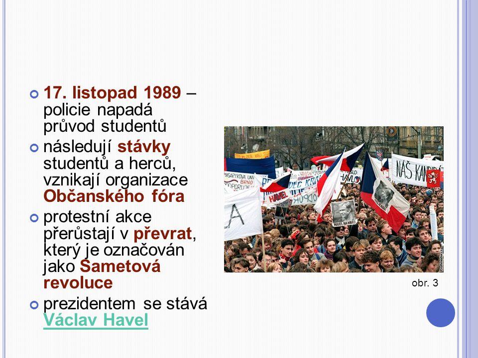 17. listopad 1989 – policie napadá průvod studentů následují stávky studentů a herců, vznikají organizace Občanského fóra protestní akce přerůstají v