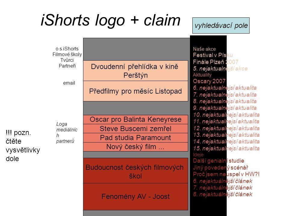 iShorts logo + claim Loga mediálníc h partnerů email Předfilmy pro měsíc Listopad Budoucnost českých filmových škol Oscar pro Balinta Keneyrese Naše a