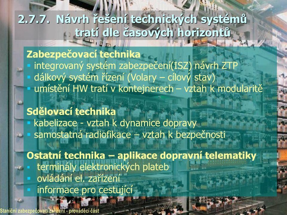 2.7.7. Návrh řešení technických systémů tratí dle časových horizontů Zabezpečovací technika  integrovaný systém zabezpečení(ISZ) návrh ZTP  dálkový