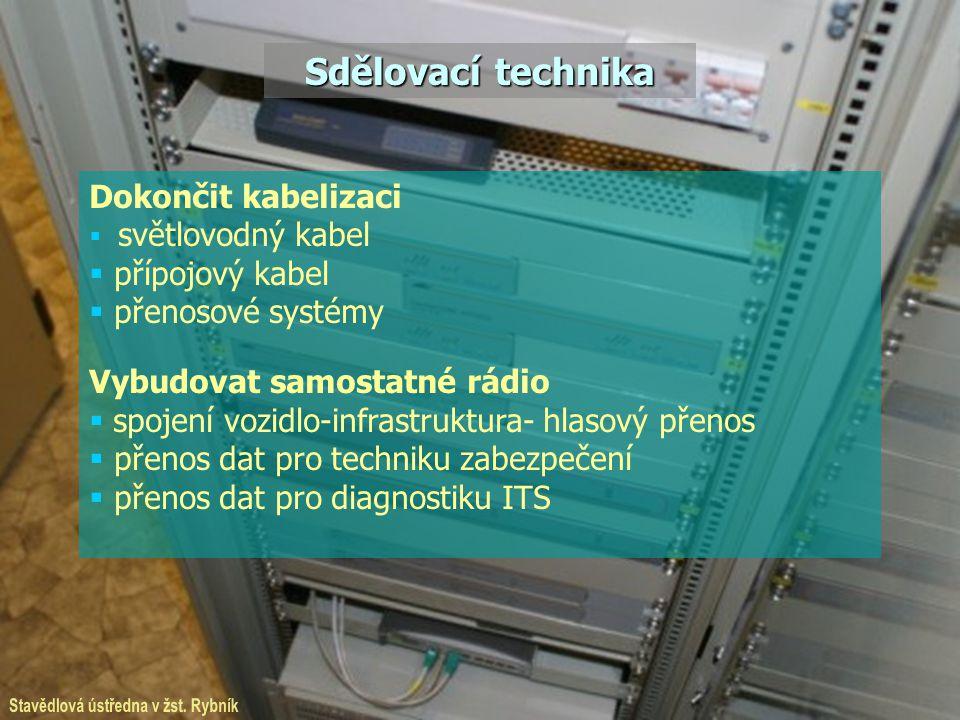 Sdělovací technika Dokončit kabelizaci  světlovodný kabel  přípojový kabel  přenosové systémy Vybudovat samostatné rádio  spojení vozidlo-infrastr