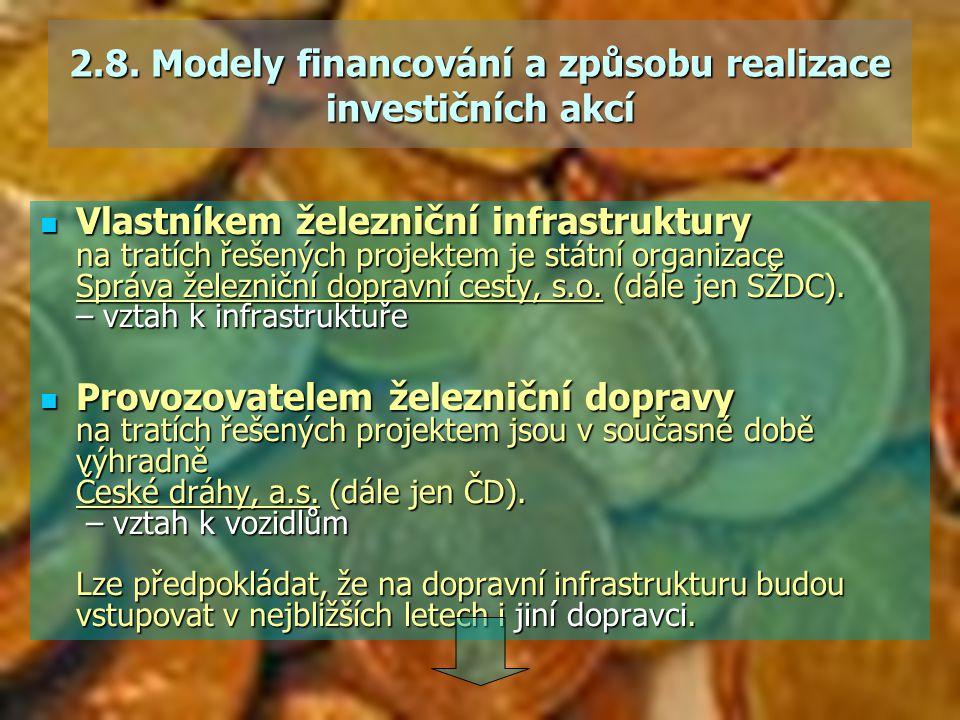 2.8. Modely financování a způsobu realizace investičních akcí Vlastníkem železniční infrastruktury na tratích řešených projektem je státní organizace