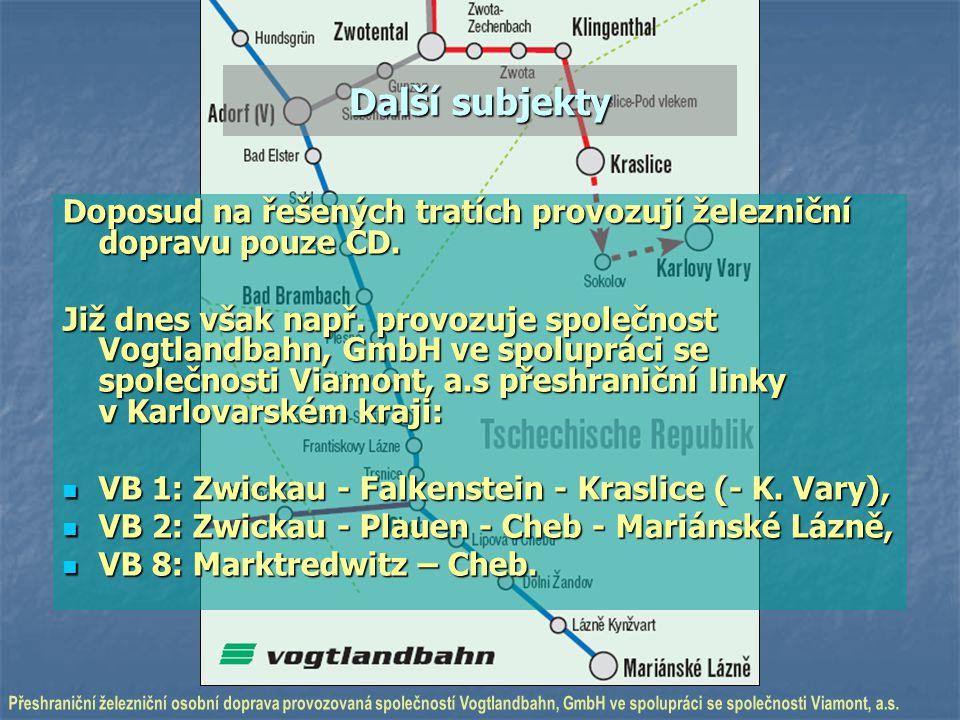 Další subjekty Doposud na řešených tratích provozují železniční dopravu pouze ČD. Již dnes však např. provozuje společnost Vogtlandbahn, GmbH ve spolu