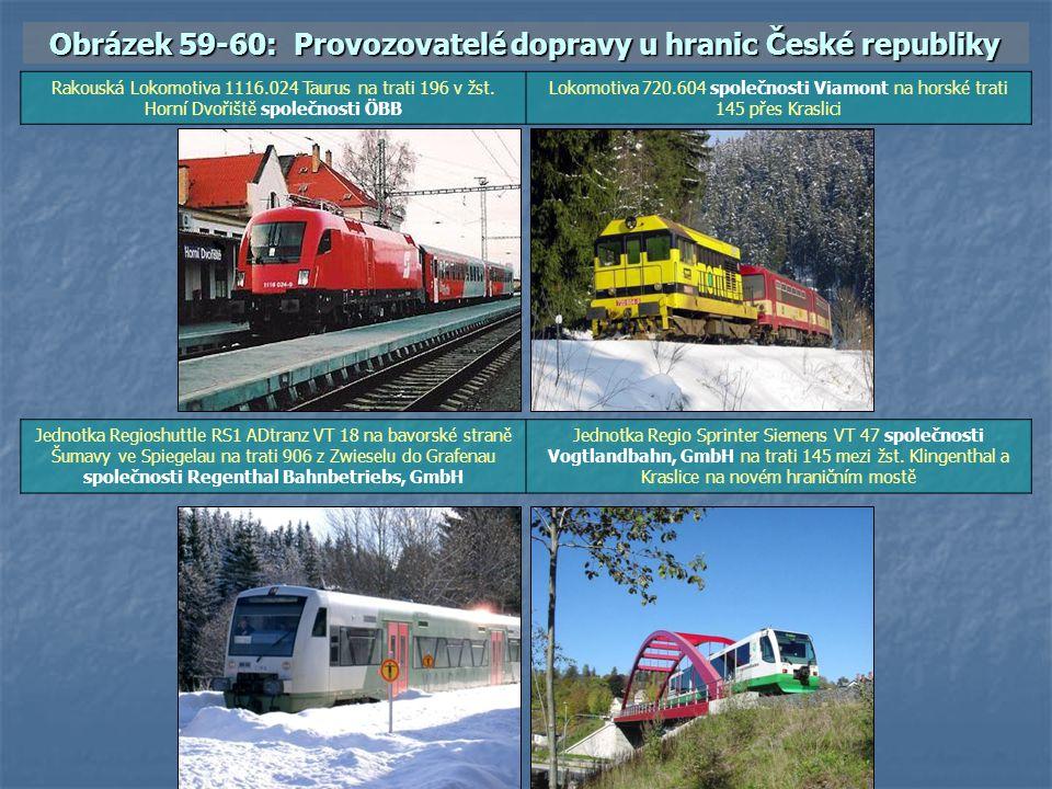Obrázek 59-60: Provozovatelé dopravy u hranic České republiky Rakouská Lokomotiva 1116.024 Taurus na trati 196 v žst. Horní Dvořiště společnosti ÖBB L