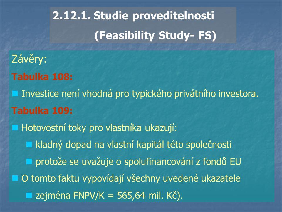 2.12.1. Studie proveditelnosti (Feasibility Study- FS) Závěry: Tabulka 108: Investice není vhodná pro typického privátního investora. Tabulka 109: Hot