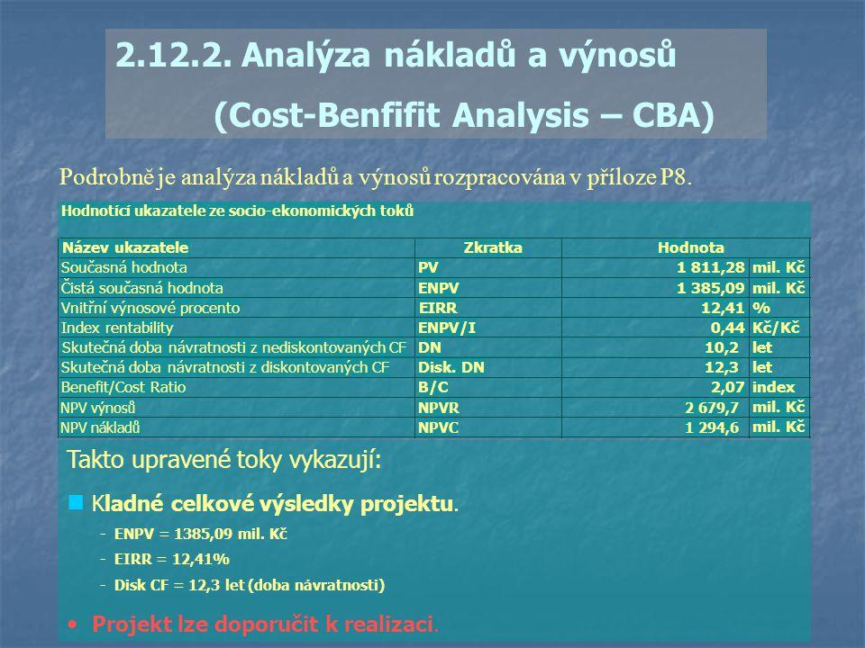2.12.2. Analýza nákladů a výnosů (Cost-Benfifit Analysis – CBA) Podrobně je analýza nákladů a výnosů rozpracována v příloze P8. Takto upravené toky vy