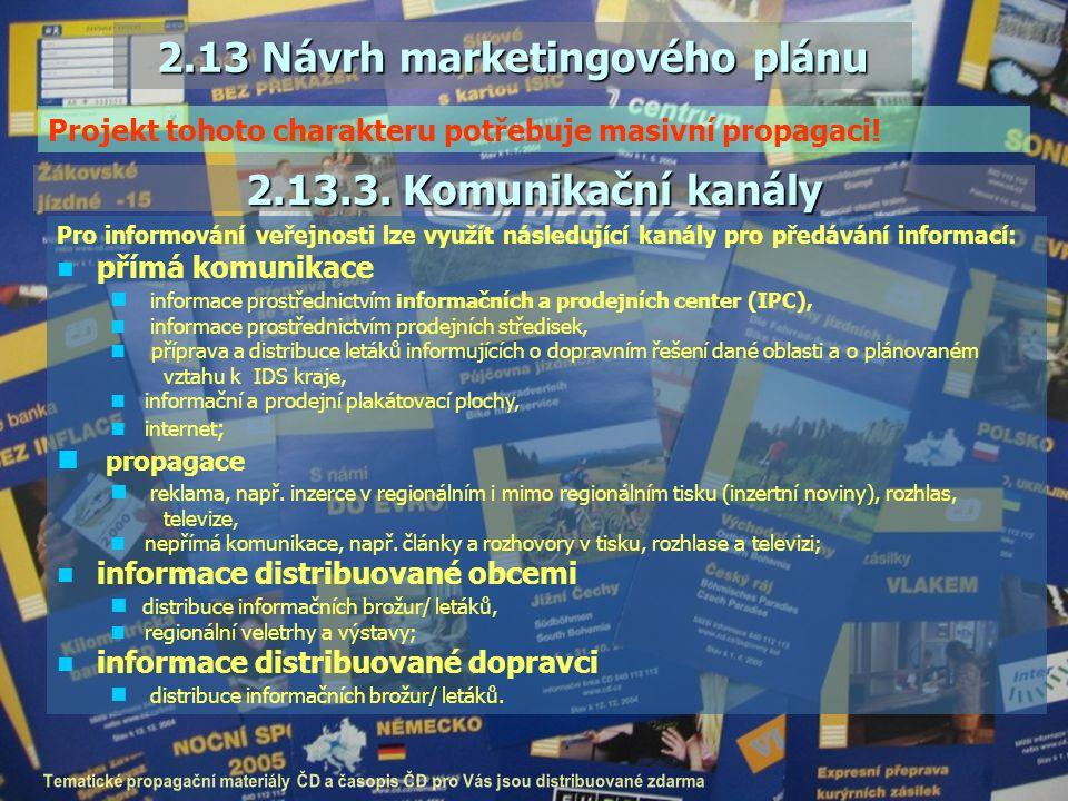 2.13 Návrh marketingového plánu 2.13.3. Komunikační kanály Pro informování veřejnosti lze využít následující kanály pro předávání informací: přímá kom