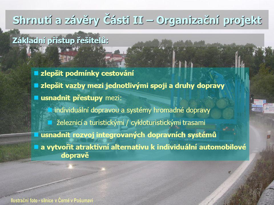 Shrnutí a závěry Části II – Organizační projekt zlepšit podmínky cestování zlepšit vazby mezi jednotlivými spoji a druhy dopravy usnadnit přestupy mez