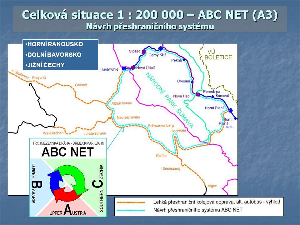 Celková situace 1 : 200 000 – ABC NET (A3) Návrh přeshraničního systému HORNÍ RAKOUSKO DOLNÍ BAVORSKO JIŽNÍ ČECHY
