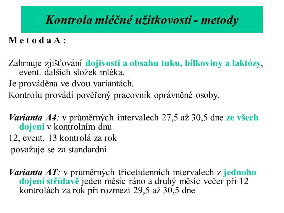 M e t o d a A : Zahrnuje zjišťování dojivosti a obsahu tuku, bílkoviny a laktózy, event. dalších složek mléka. Je prováděna ve dvou variantách. Kontro