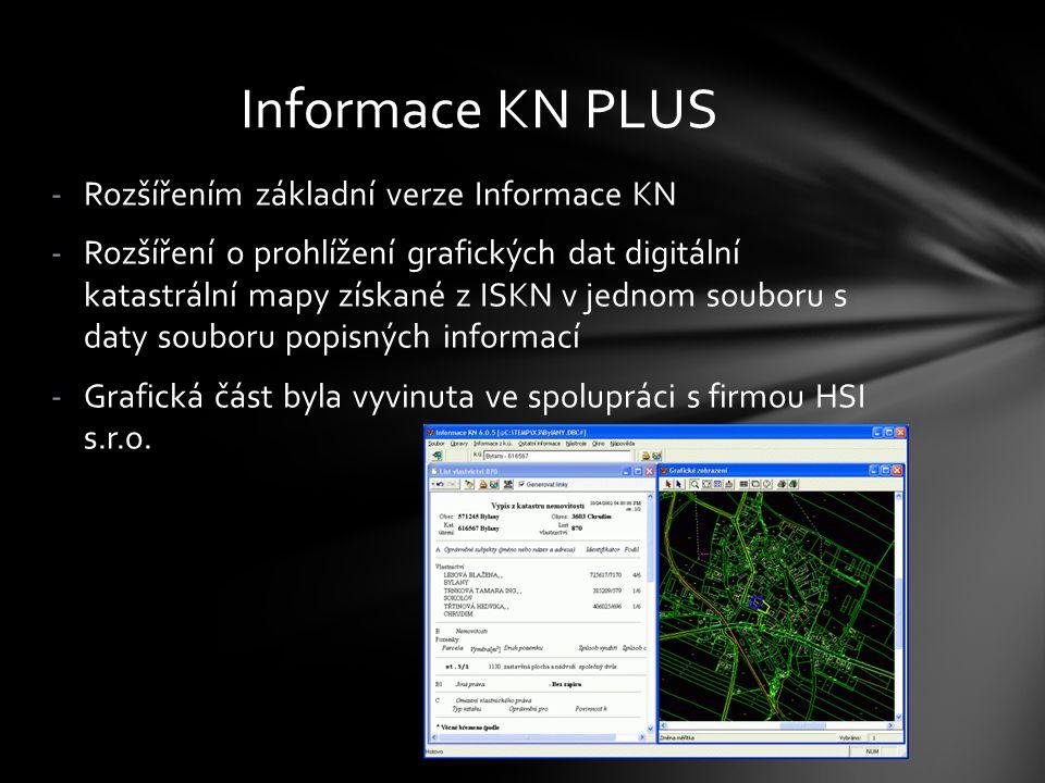 -Rozšířením základní verze Informace KN -Rozšíření o prohlížení grafických dat digitální katastrální mapy získané z ISKN v jednom souboru s daty soubo