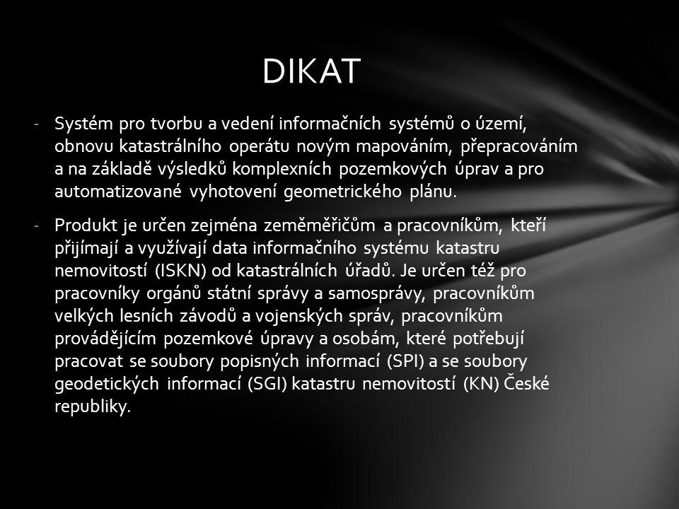 -programový systém pro tvorbu, lokalizaci a vedení digitálních map nemovitých kulturních památek ČR velkého měřítka a jejich automatizovaného propojení s negrafickými daty katastru nemovitostí a údajů o památkových objektech.