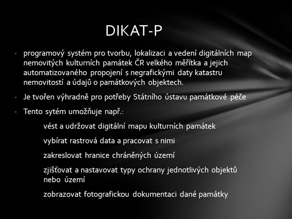 -programový systém pro tvorbu, lokalizaci a vedení digitálních map nemovitých kulturních památek ČR velkého měřítka a jejich automatizovaného propojen