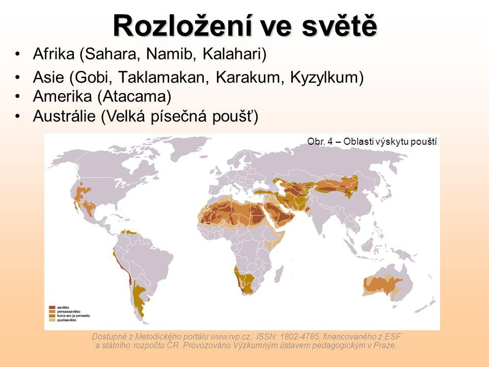Rozložení ve světě Afrika (Sahara, Namib, Kalahari) Asie (Gobi, Taklamakan, Karakum, Kyzylkum) Dostupné z Metodického portálu www.rvp.cz, ISSN: 1802-4