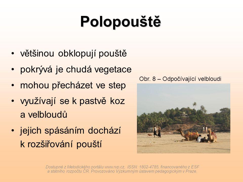 Polopouště většinou obklopují pouště pokrývá je chudá vegetace mohou přecházet ve step využívají se k pastvě koz a velbloudů jejich spásáním dochází k